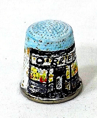 Hand painted metal thimble with a O,briens store front scene Signed Easter 1979