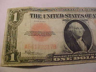 1923 $1 United States Note  Legal Tender,  Large Red Seal Note FADED RED PRINT