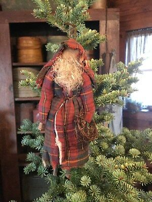 Primitive Stick Leg Old Red Plaid Quilt Christmas Santa Claus Ornament