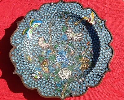 Beautiful Vintage Asian Cloisonne Charger Butterflies And Flowers