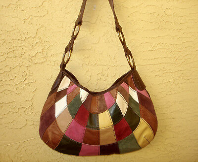 Lucky Brand Hobo Handbag Multi Color Patchwork Suede Grained Leather Boho