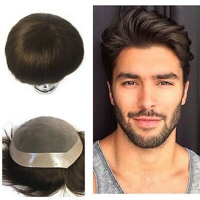 Mono Lace 100%Real Human Hair Replacement Skin Front Toupee Men's One Hairpieces