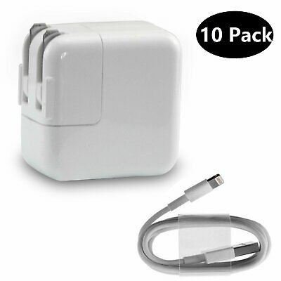 Lot Of 10 Pack For Apple 12W USB Power Adapter Wall Charger for iPad 4 Air Pro