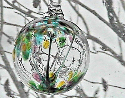 "Hanging Glass Ball 4"" Diameter ""Pastel Tree"" Witch Ball (1) WB26A"
