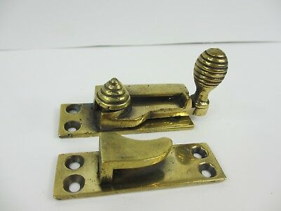 Victorian Brass Sash Window Latch Catch Fastener Old Antique Reeded Beehive