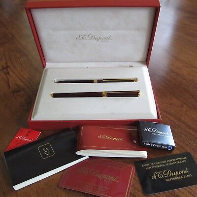 NIB Unused S.T. DUPONT 18K Fountain Pen and Pencil set in Original Fitted Box