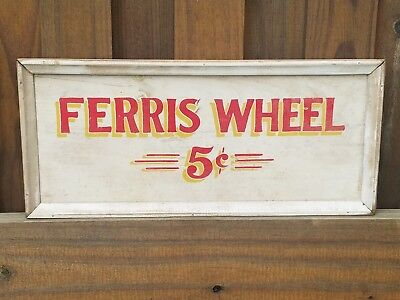 Vintage Wood Carnival FERRIS WHEEL Circus Ride PAINTED 5 cents red  yellow white