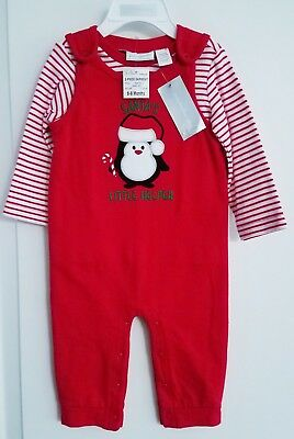 First Impressions Baby Boys 2-piece long-sleeve shirt & Penguin Overalls Set