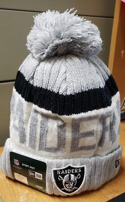 08e860a9df8 Oakland Raiders NFL New Era Sideline Official Sports Knit Hat Beanie  Grey White