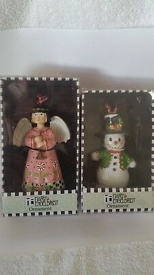 Rare Collectible Me Mary Engelbreit Christmas Ornament Set Of 2 Angel / Snowman
