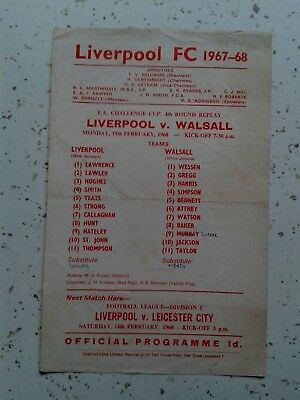 Liverpool v Walsall FA Cup 1967/8 February 19th 1968