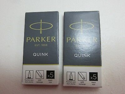 2 x Packs of 5 GENUINE Parker Quink Fountain Pen Ink Cartridges - BLACK - NEW