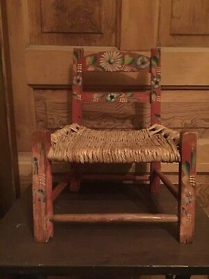 Vintage Antique Hand Painted Wooden Childs Doll Chair Straw Rush Seat