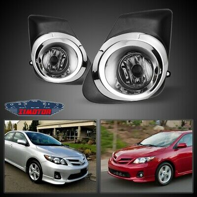 Fit Toyota Corolla 11-13 Clear Lens Pair OE Fog Light Lamp+Wiring+Switch Kit