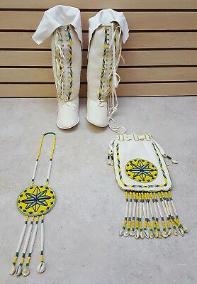 New Hand Crafted 4 Piece Cut Beaded Star Design Native American Indian Dance Set