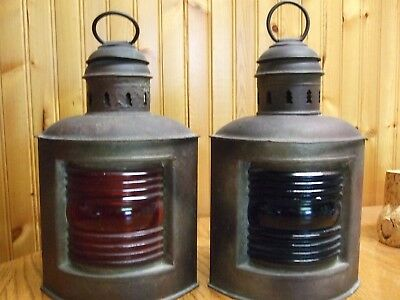 Pair Ofantique Maritime Lamps Red & Blue By Perkins Brooklynn Usa With Metaltag