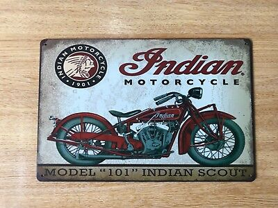 Vintage Retro Style Metal Tin Sign Poster Indian Motorcycle Rare Cave Wall Home