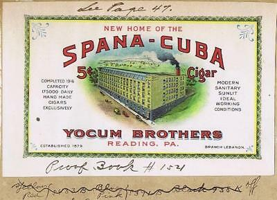 Spana-Cuba Yocum Brothers Reading PA cigar label, sign or ink blotter    #56