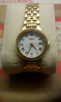 Rotary Gold Plated Bracelet Watch Serviced New Battery White Dial Roman Numerals