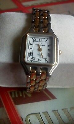 Ladies Two Tone Bracelet Watch New Battery, White Dial, Roman Numerals V.g.w.c