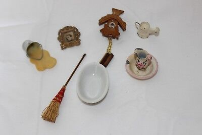 (8) Pc Lot Vintage Miniature Doll House Porcelain Metal Household Item Shackman