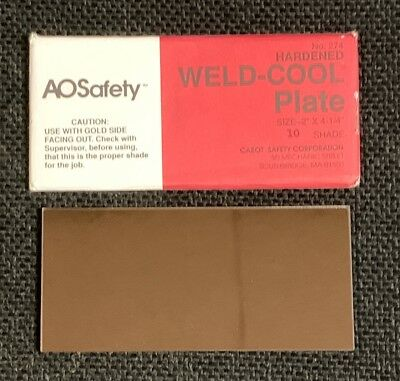 """American Optical Safety Hardened Weld-Cool Plate No 274 (2"""" x 4 ½"""")"""