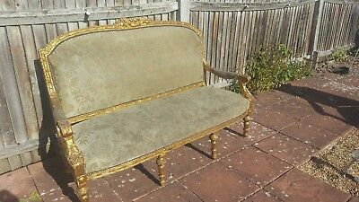 Antique Louis XV/XVI Style French Gilded Gold leaf Wood Sofa and Chairs