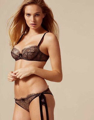 Agent Provocateur Soiree Black Sianna Bra 34B   Sexy Tie Side Brief 3 Med  Bnwt e9b7cb7ce