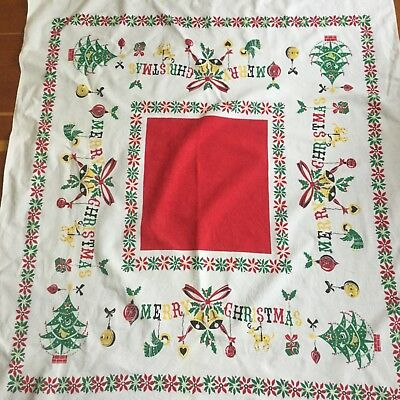 Vintage Christmas Tablecloth Merry Christmas w/ ornaments & Trees