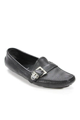 80518fe4b4e Prada Womens Flats Size 36 6 Black Leather Buckle Detail Loafers Drivers