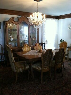Vintage Dinning Set Solid Wood Complete Cabinet, Table and Chairs