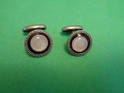 Antique  Silver Tone Round MOTHER OF PEARL &  Black CELLULOID  Cuff Links