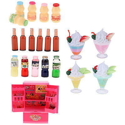 Mini Refrigerator Fridge & Food Set For 12inch Fashion Dolls House Accessory