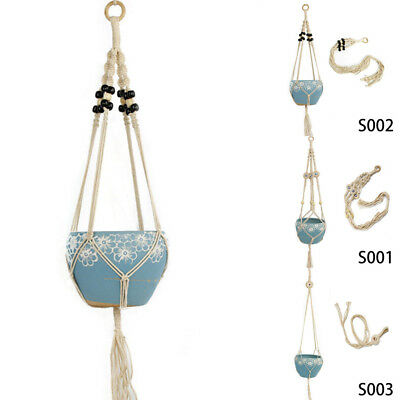 Pot Holder Macrame Plant Hanger Hanging Planter Basket Jute Braided Rope Arts ^