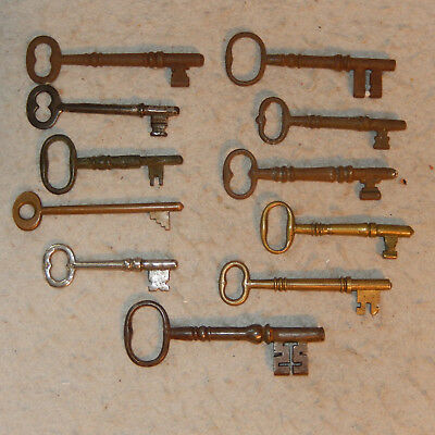 Lot 11 Vintage Antique Skeleton ORNATE Solid Barrel Keys Lock Box Door Furniture