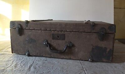 Antik Koffer Reisekoffer Holz Leinen Art Deco antique suitcase
