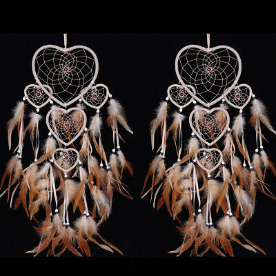 2PCS Hanging Dream Catcher with Feathers Wall Room Ornament Heart Shaped Brown