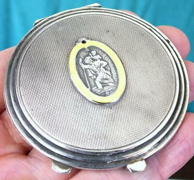 Unusual Solid Silver Powder Compact With Enamel St Christopher Lid - Bham 1958