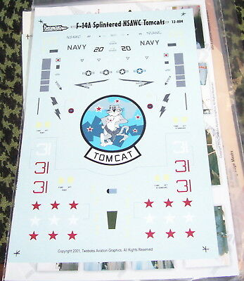 F-14A SPLINTERED NSAWC TOMCATS 1/72 Two Bobs Decals 72-004 -SOLDOUT