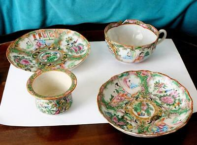 Hand Enamelled Chinese Famille Rose Shaped Rim Cup and Vessel + Two Dishes