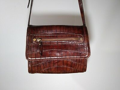 Women's Liz Claiborne Shoulder Bag Brown Purse Handbag Alligator/ Croc Print