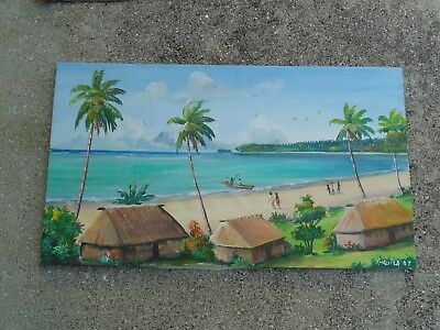 Nice Decorative Vintage Tropical Beach Sea Scape Oil Painting signed H Cuila ?