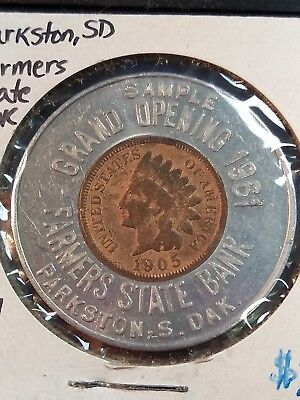 Parkston, South Dakota  Farmers State Bank 1905 Encased Penny