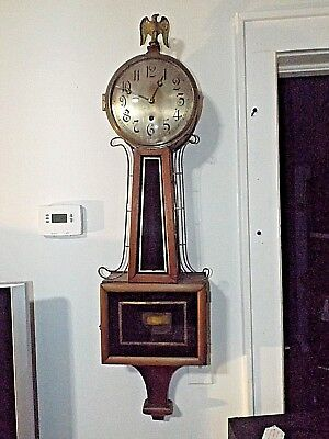 """LARGE 43"""" Antique 1900s Time Only Walnut Reverse Painted Banjo Clock Runs Great!"""