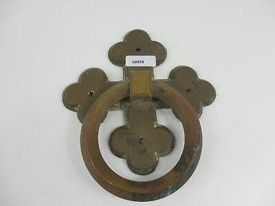 Vintage Brass Door Handle Pull Gothic Church Cross Old Coffin Door Loop Antique