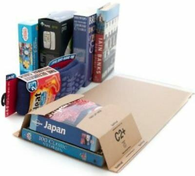 100 x C2 BOOK WRAP BUKWRAP POSTAL BOXES MAILERS 260x175x70mm FREE DELIVERY