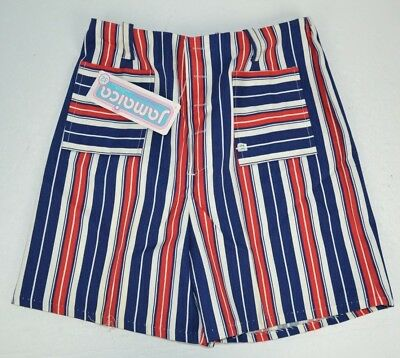 Vintage 1970's Women's Striped Jamaica Shorts Navy/Red/White, NOS