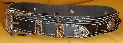 04f4098c43f7 Ceinture Cuir Collector JOHNNY HALLYDAY-WESTERN PASSION -Boucle et Conchas  metal