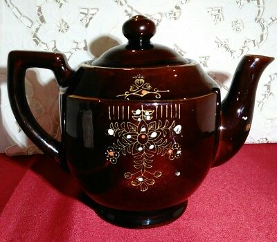 Japanese Hand Painted Redware Pottery Tea Pot Brown with Floral Design