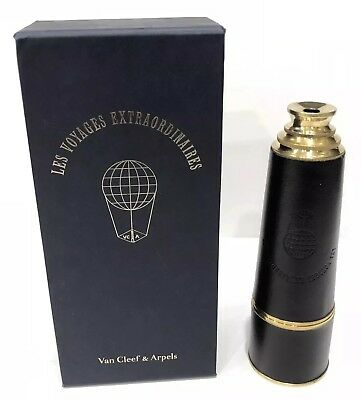 Very Rare! Vintage VCA Van Cleef & Arpels Black Leather Solid Brass Telescope